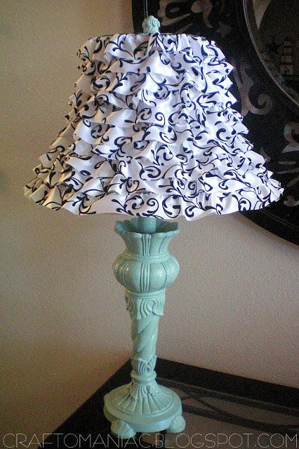 diy ruffled lamp using wire ribbon
