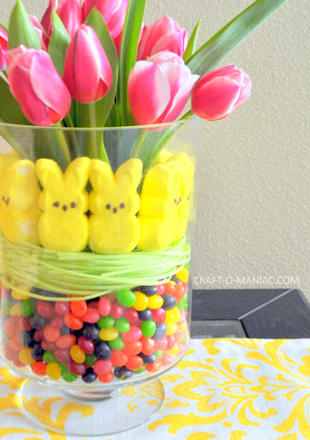 easter peep and tulip arrangement