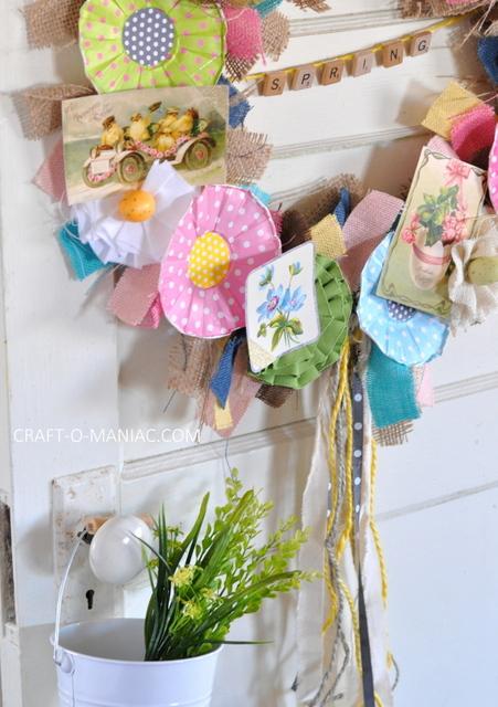 DIY Vintage Spring Burlap Wreath 13