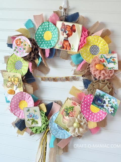 DIY Vintage Spring Burlap Wreath 18