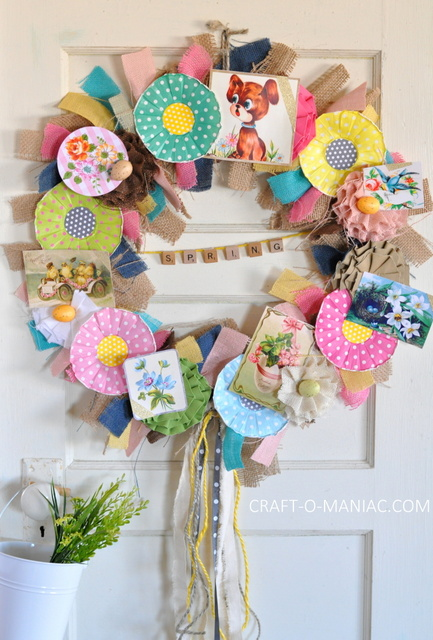 DIY Vintage Spring Burlap Wreath door