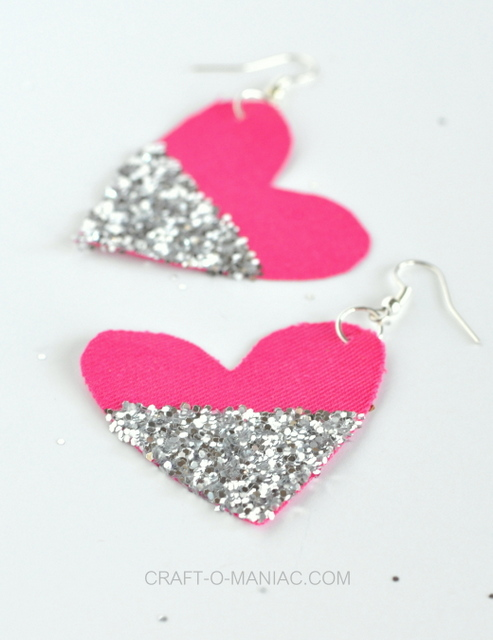 diy glitter and fabric heart earrings 9