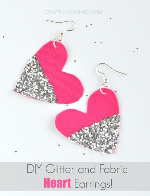 diy glitter and fabric heart earrings usepm