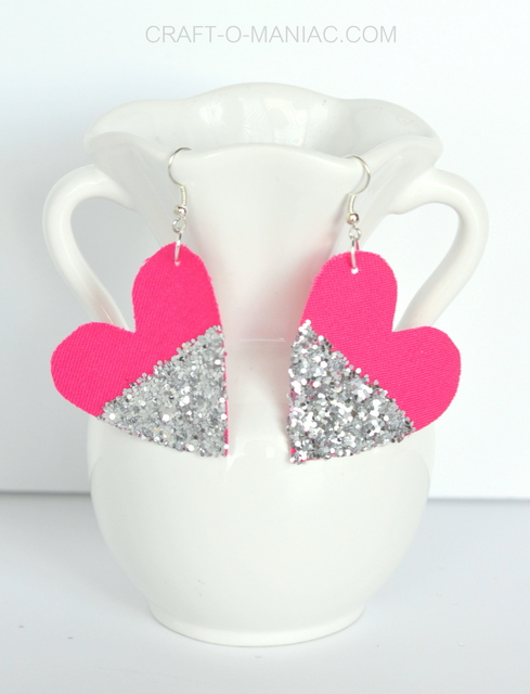 diy glitter and fabric heart earrings vase 1