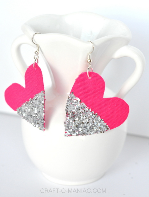 diy glitter and fabric heart earrings vase