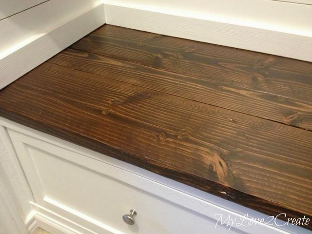 wood closet bench MyLove2Create, top of bench