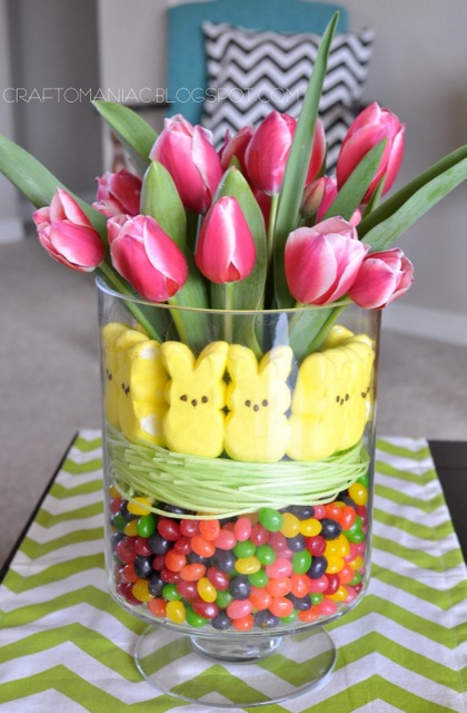 Easter tulip and candy arrangement