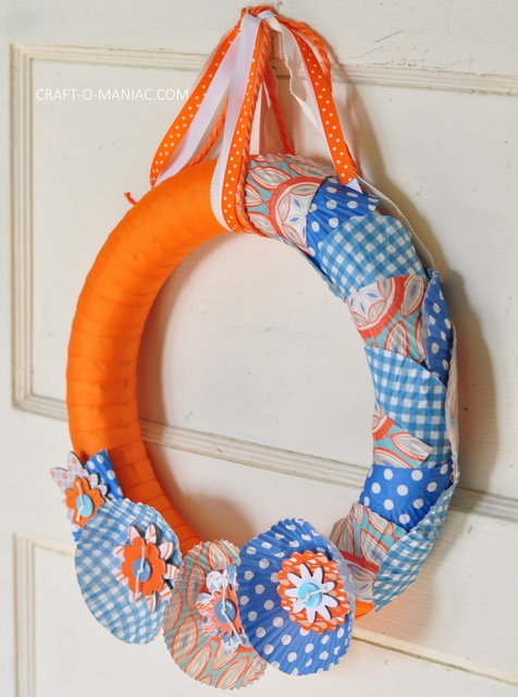 ribbon and cupcake liner wreath8