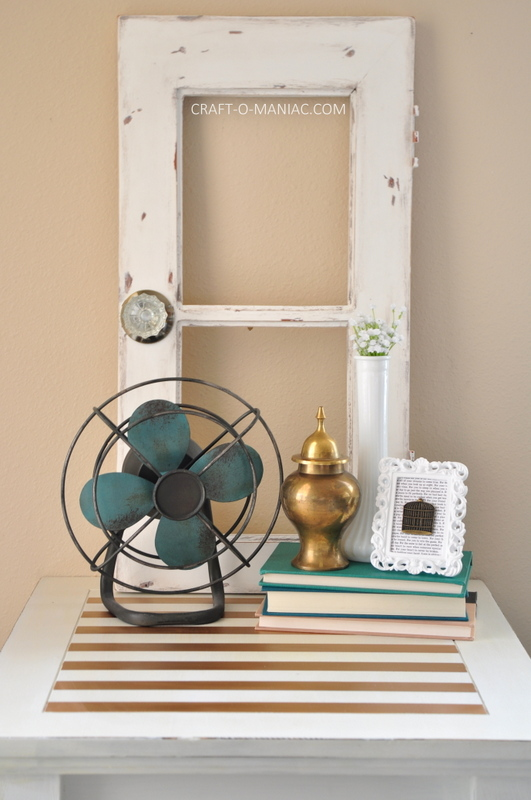 white end table facing all