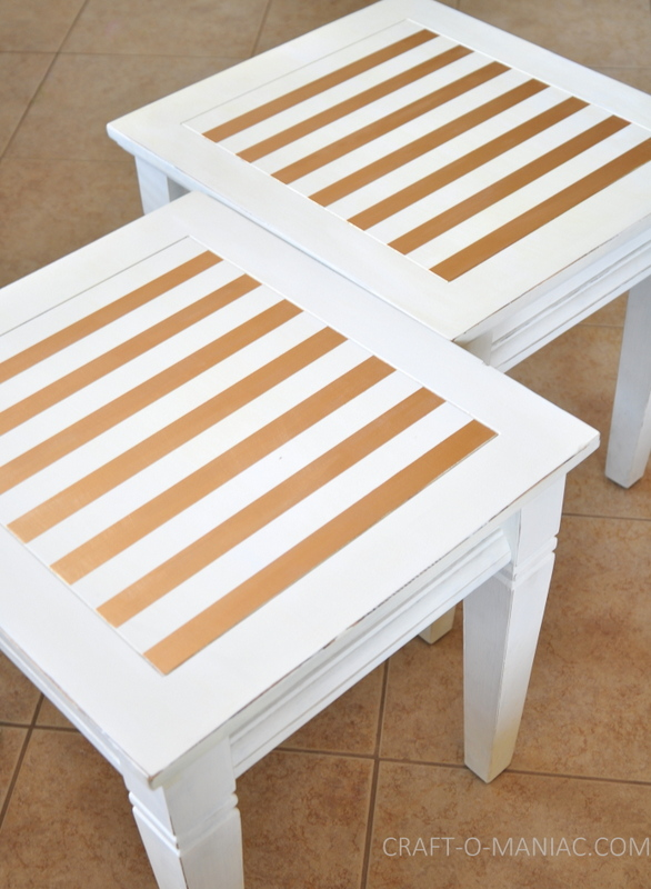 white end tables painted with stripes