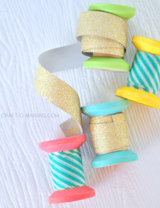 DIY painted spool washi tape holders finished5