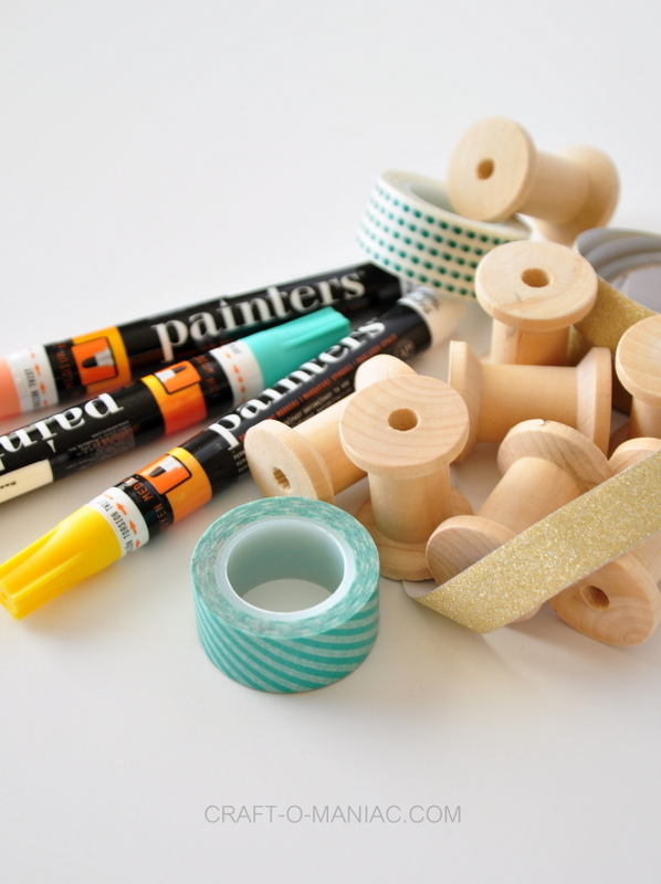 DIY painted spool washi tape holders1