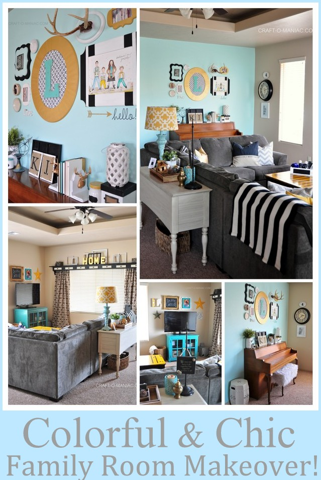 colorful and chic family room makeover
