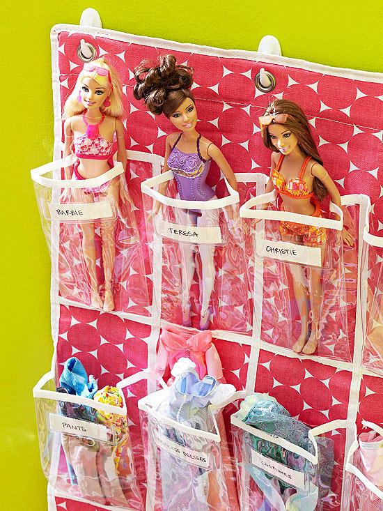organized barbie dolls