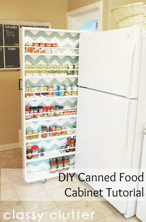 organized diy canned food cabinet