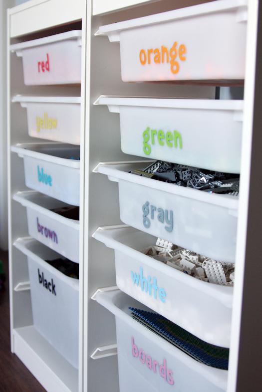 organized lego colored bins