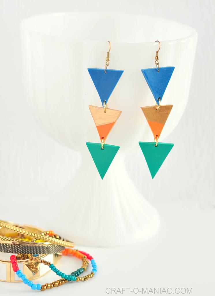 DIY clay triangle drop earrings 3