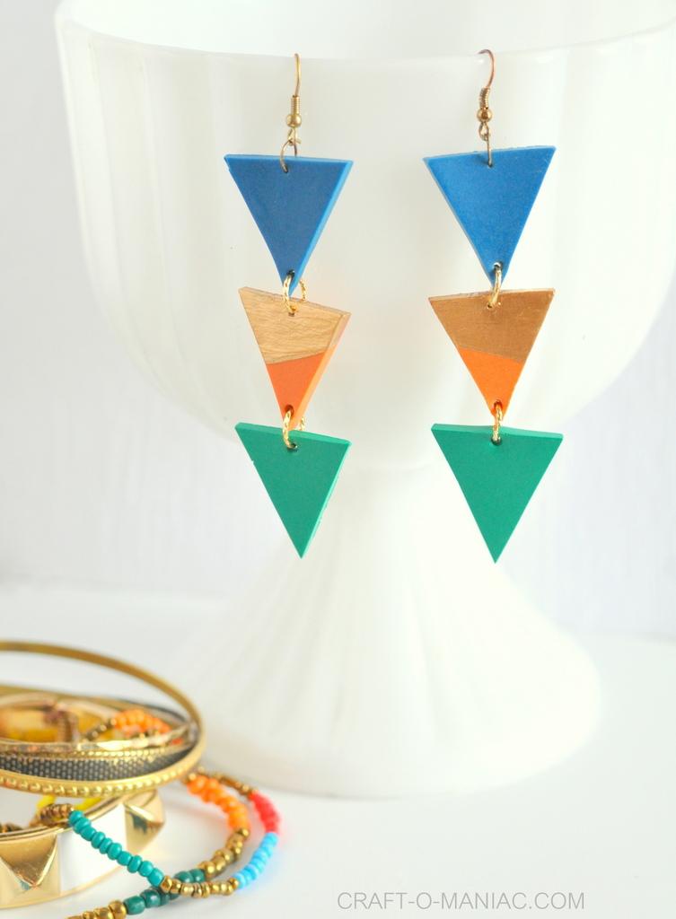 DIY clay triangle drop earrings2