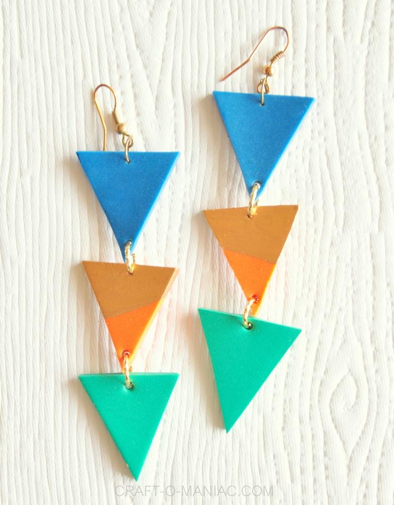 diy clay triangle drop earrings