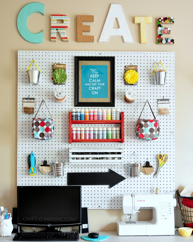 craft room makeover facing peg board