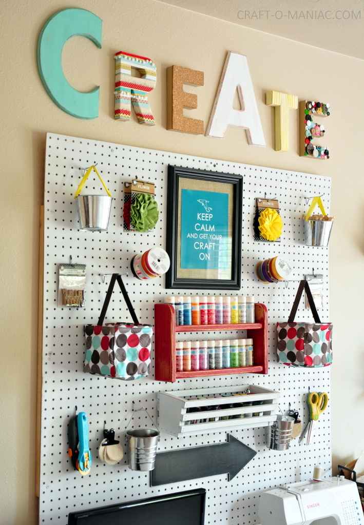 Wall Decor Craft Room : Craft room wall with whites and brights