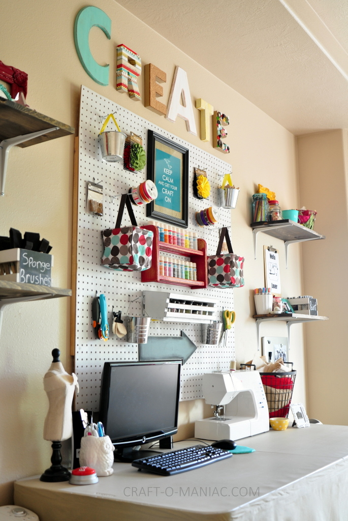craft room makeover whites and brights full side