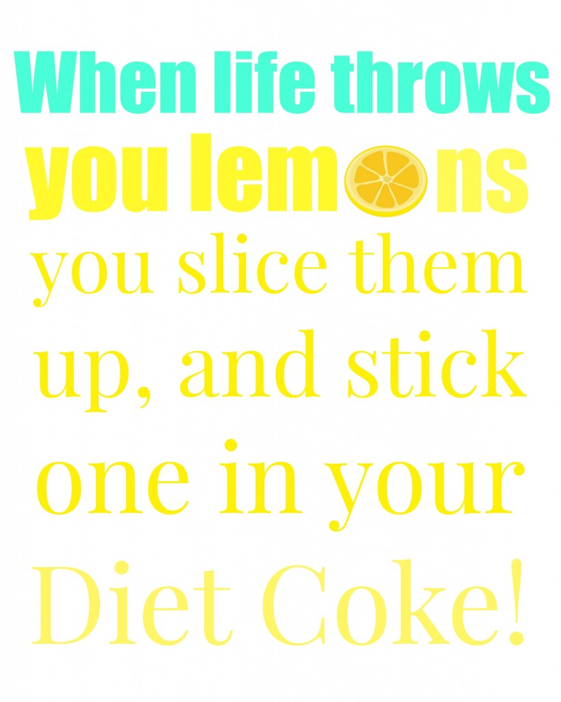 lemons diet coke turquoise and yellow