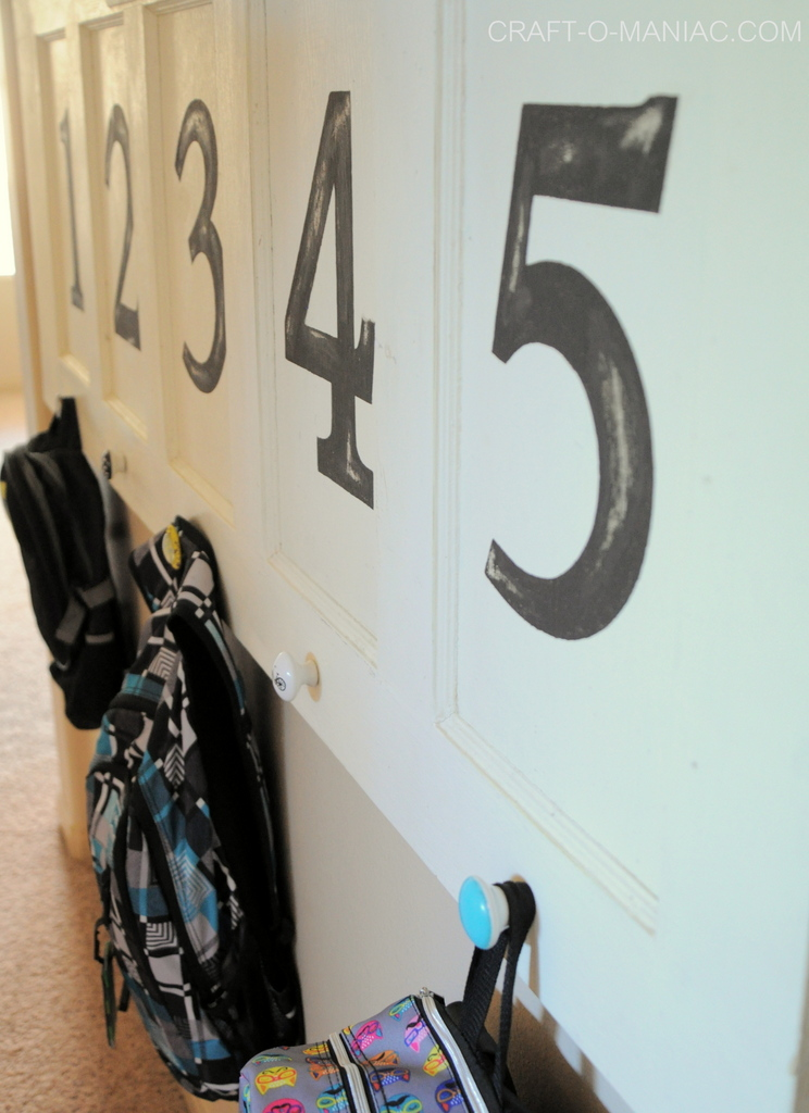 upcycled backpack vintage door numbers