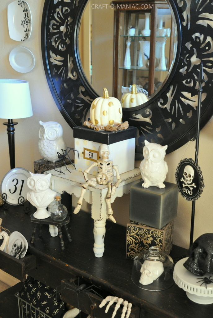 black and white halloween decor full side