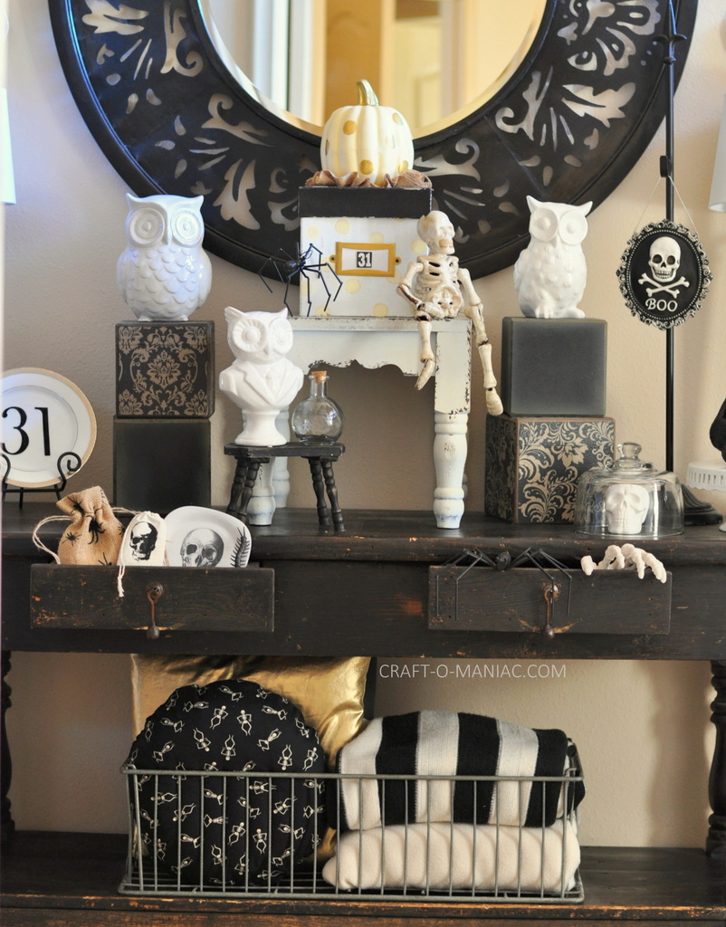 black and white halloween decor full