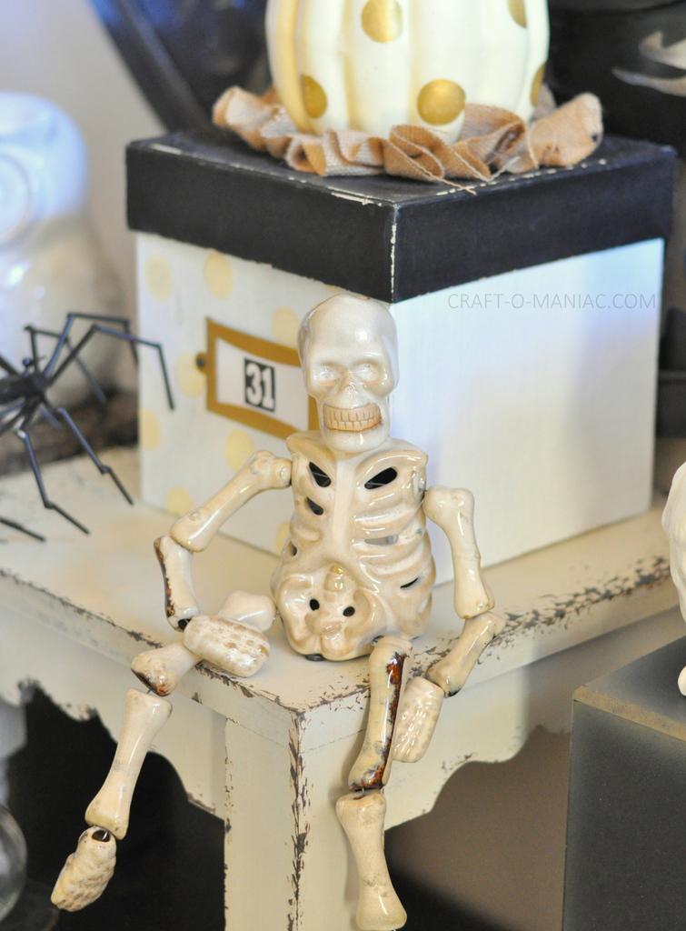 black and white halloween decor skeleton close