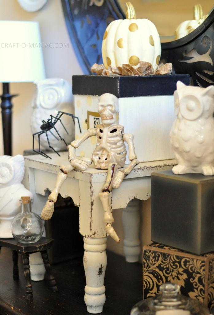 black and white halloween decor skeleton