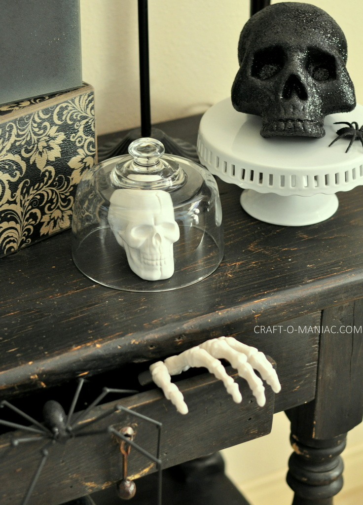 black and white halloween decor skulls