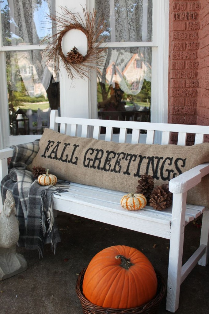 fall decor burlap pillow