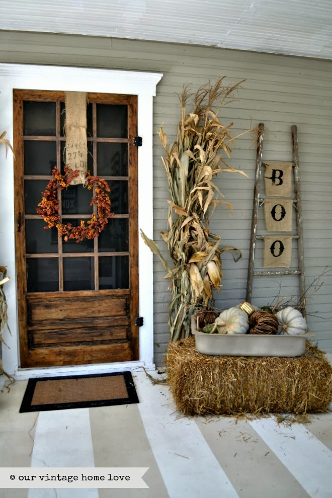 fall decor fall porch boo and ladder