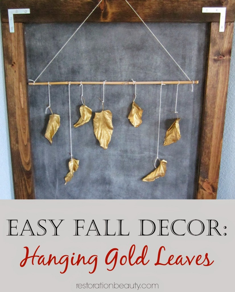 CCLPeasy fall decor, hanging gold leaves