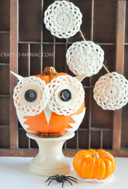 diy embellished faux pumpkin owl fav