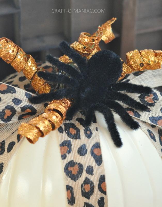 diy embellished faux pumpkins fuzzy spider