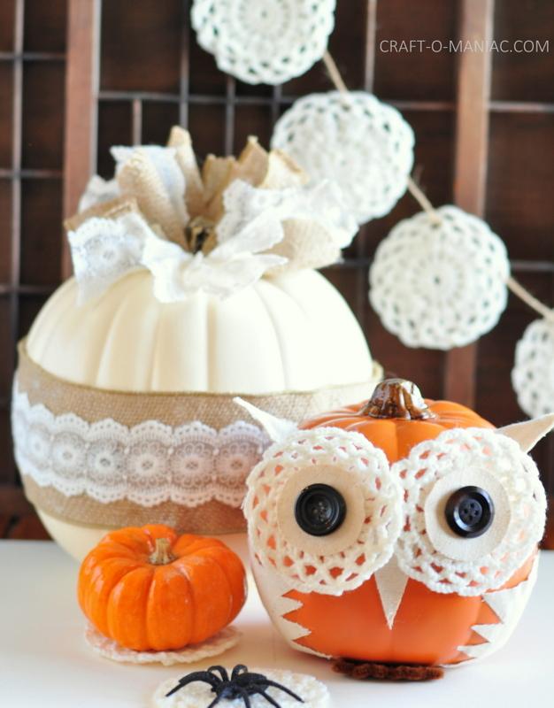diy embellished faux pumpkins vintage and owl4
