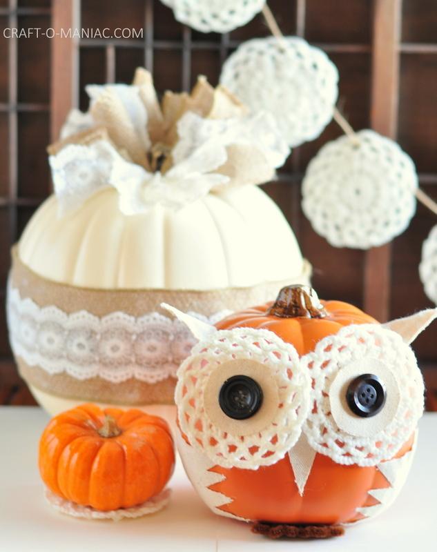 diy embellished faux pumpkins vintage and owl6