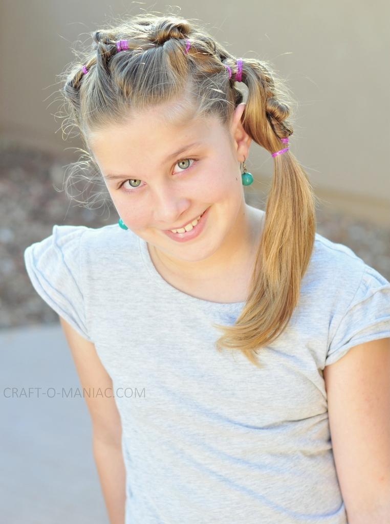 diy little girl twisty loop hair do15