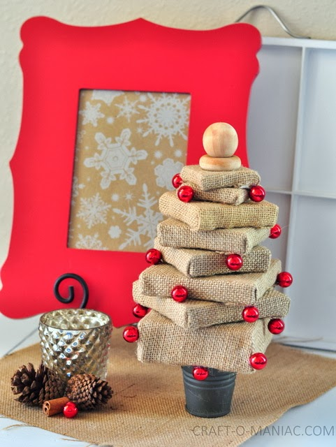 DIY Burlap canvas stacked tree6