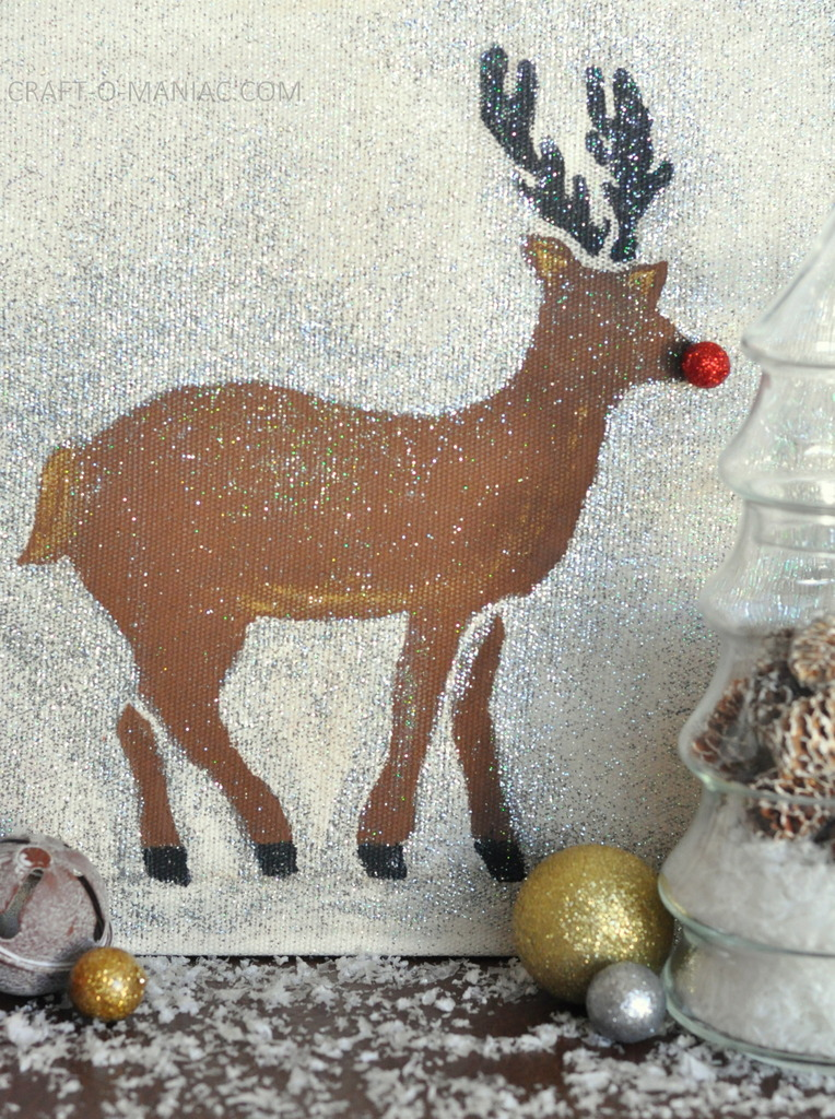 diy stenciled rudolph canvas3