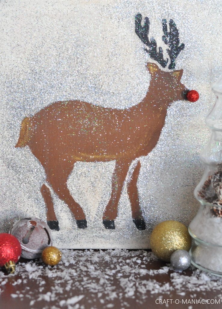diy stenciled rudolph canvas5