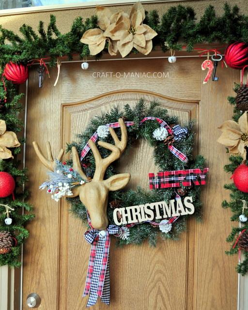 rustic christmas porch deer wreath