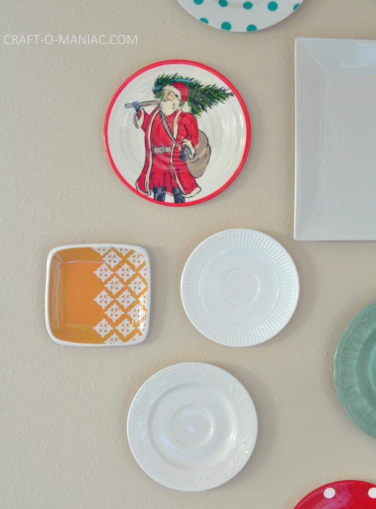 vintage christmas plate wall