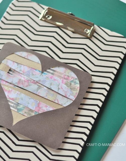 diy paper heart clipboard