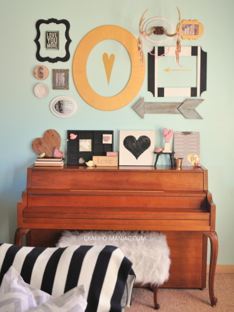 valentine piano and wall decor