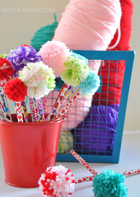 yarn pom pom pencils