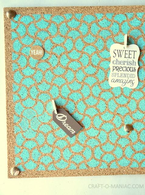 diy stenciled stamped cork board2